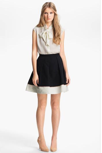 Hem Detail Faille Skirt $245