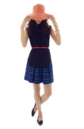'Lush' Stripe Silk Twill Skirt $275